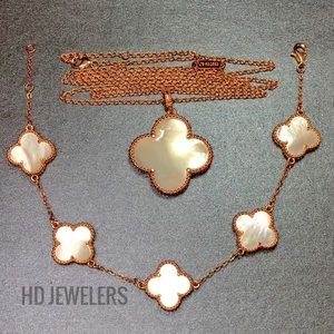 Jewelry - MOP 18K Rose Gold Four Leaf Clover Jewelry Set